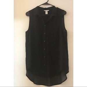 New Black Sheer Sleeveless Button Down Top